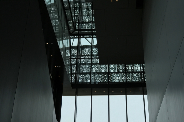 Inside the museum, looking up at the windows.